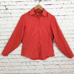 REI Coral Button Down Long Sleeve Outdoors Top